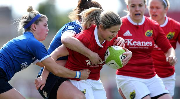 Winger Laura O'Mahony in action against Leinster