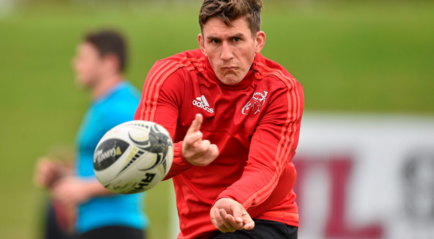 Munster out-half Ian Keatley in training at UL ahead of tonight's clash with the Scarlets