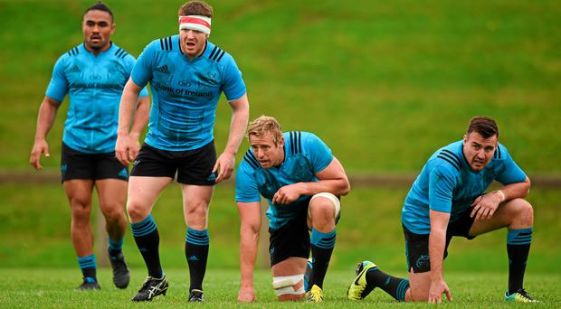 Munster players (l-r) Francis Saili, Mike Sherry, Mark Chisholm and Niall Scannell during squad training in UL