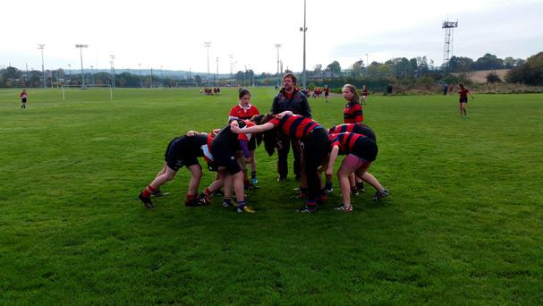 Secondary School Girls taking part in the CIT Blitz Day pictured with Community Rugby Officer Euan Gee