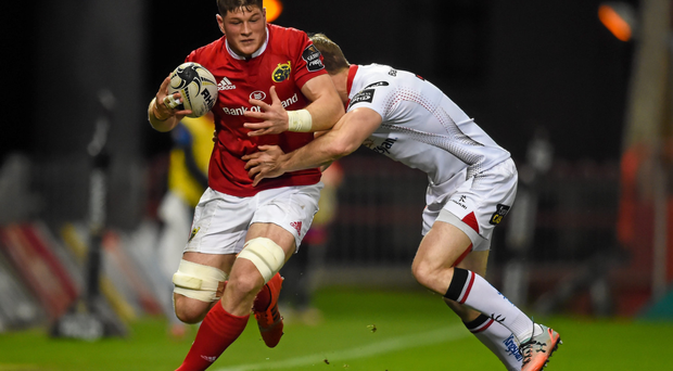 Jack O'Donoghue is tackled by Ulster's Andrew Trimble last week