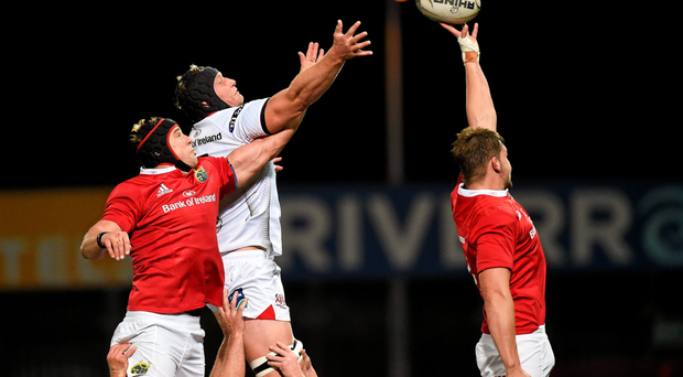 Munster's Dave Foley (R) and Mark Chisholm contest a lineout with Ulster's Franco van der Merwe in last week's Guinness PRO12 clash at Thomond Park