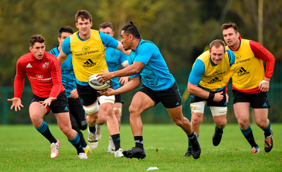Francis Saili leads the way at training earlier this week