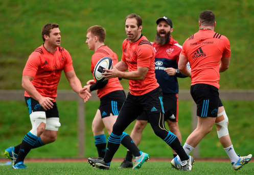 Tomas O'Leary at training in Limerick ahead of this weekend's clash against Treviso