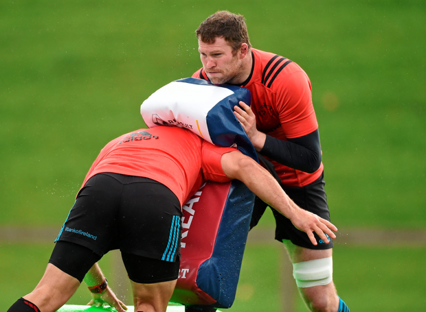 Munster's Donnacha Ryan with BJ Botha during squad training. University of Limerick, Limerick