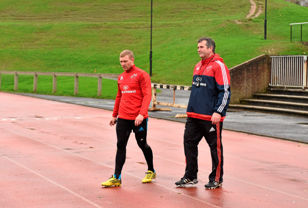 Keith Earls along with head coach Anthony Foley at UL
