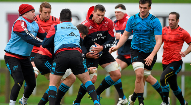 Munster's CJ Stander in action during training at UL