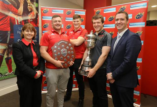 Bank of Ireland's Deirdre O'Donoghue, Munster trio Dave Kilcoyne, Jack O'Donoghue and Mike Sherry and BOI's Sean Byerly at the Munster U18 & U16 Clubs Competition Launch at Thomond Park