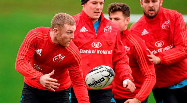 Keith Earls, left, in action alongside team-mates Robin Copeland, Conor Oliver and Dave Foley during squad training this week ahead of tomorrow's clash with Connacht.