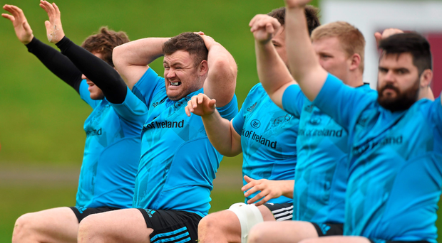 Munster players, including Dave Kilcoyne (centre) put the effort in at training
