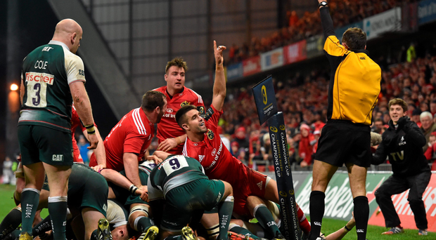 Conor Murray celebrates as referee Romain Poite awards the try to his team-mate James Cronin (hidden) last weekend. Murray says his first game back from injury all went according to plan – apart from the result (Sportsfile)