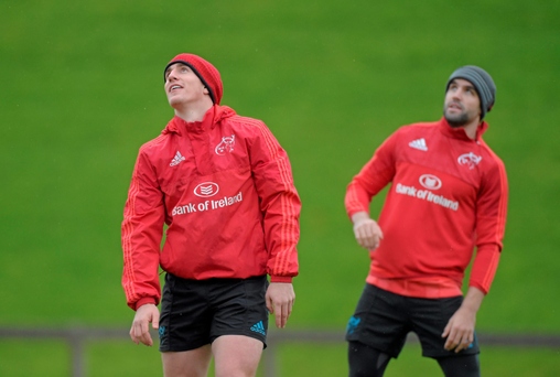 Munster half-backs Ian Keatley and Conor Murray in training this week (Sportsfile)