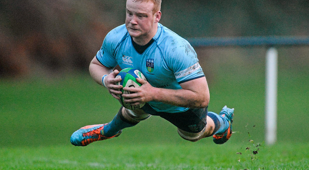 Peadar Timmins scores UCD's first try against Old Belvedere's at Anglesea Road. Picture: Sportsfile