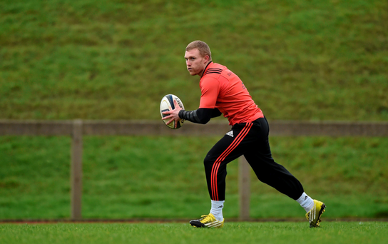 Keith Earls goes through his paces during training Photo:Sportsfile