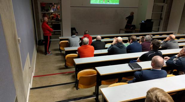 Munster Academy Manager Peter Malone tutors coaches at LIT