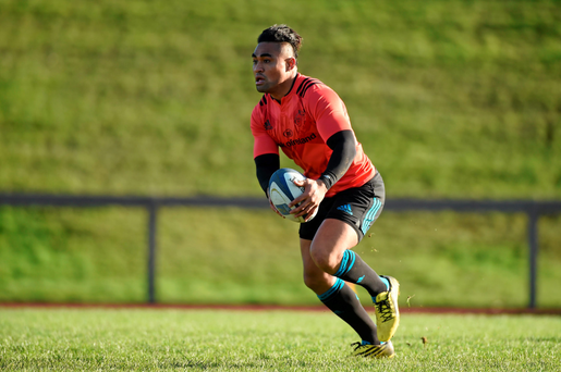 Munster's Francis Saili in action during squad training. Picture credit: Diarmuid Greene / SPORTSFILE