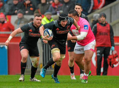 Tommy O'Donnell on the charge against Stade Francais at Thomond Park last weekend Photo: Sportsfile