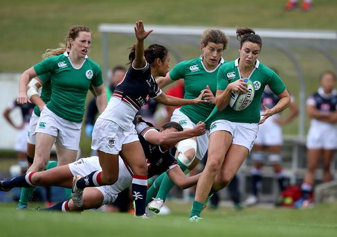 UL Bohs star Louise Galvin (right) in action for Ireland Photo: INPHO/Dan Sheridan