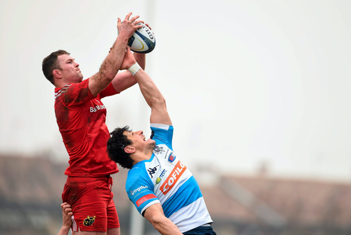 Munster's Donnacha Ryan wins possession in a lineout ahead of Alessandro Zanni of Treviso last weekend Photo: Sportsfile