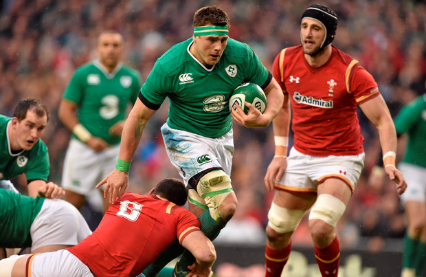 CJ Stander in his man of the match display on his Ireland debut against Wales (SPORTSFILE)