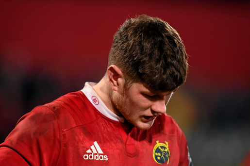 Jack O'Donoghue stands dejected after last weekend's defeat to Ospreys. Photo: Sportsfile