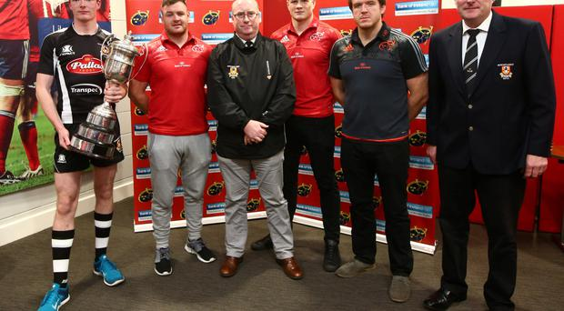 Newcastle West/Estuary captain Jason Woulfe, Munster prop David Kilcoyne, NCW/E youth officer Pat Daly, Munster back-row Jack O'Donoghue, Munster hooker Mike Sherry and club president Mike Lyons at the BOI Munster Clubs U-18 and U-16 launch at Thomond Park. Photo: INPHO/James Crombie