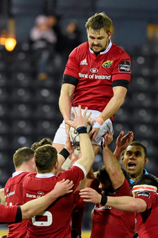 Munster's Dave Foley wins possession in a line-out against Glasgow. Photo: Sportsfile