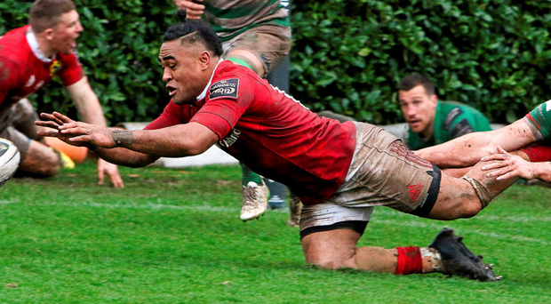 Francis Sailiscores his try against Treviso last weekend – everyone in Munster will want to see more of the same against the Dragons tomorrow. Photo: Sportsfile