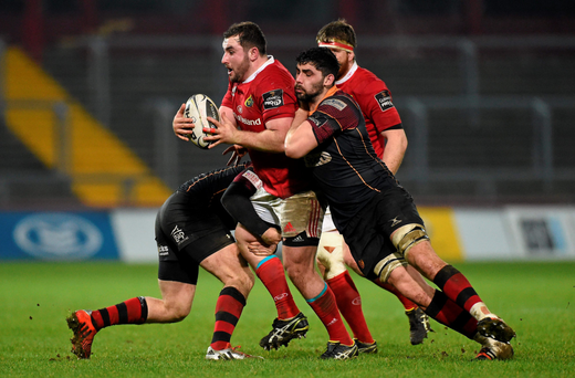 James Cronin takes on the Dragons defence. Photo: Sportsfile