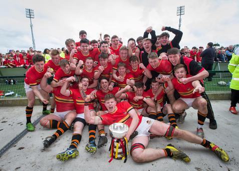 CBC celebrate their Senior Cup triumph Photo: INPHO/Ryan Byrne