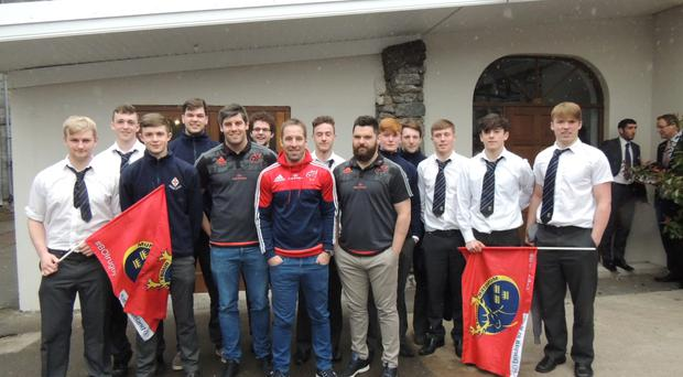 Munster players at Midleton College