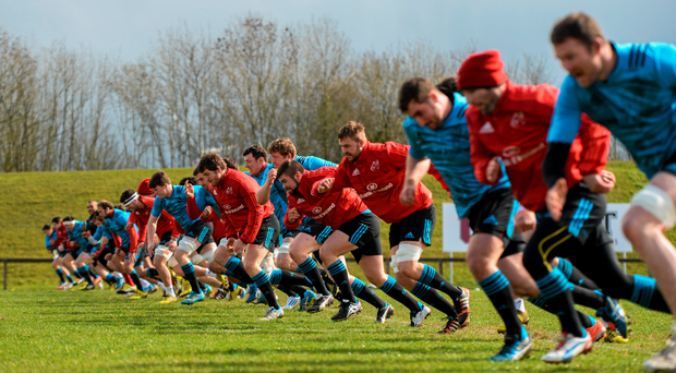 Munster players go through their paces ahead of tomorrow's clash with Leinster. Photo: Sportsfile