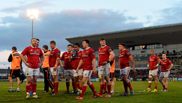 Munster players react after conceding a try against Connacht