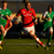 Simon Zebo skips away from the Connacht defence to score a try for Munster at the Sportsground