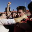 Ronan O'Gara is mobbed by the Munster fans