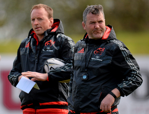 Munster head coach Anthony Foley (right) and technical advisor Mick O'Driscoll during training at UL Photo: Seb Daly / Sportsfile