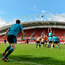 Mike Sherry throws into a lineout between Sean O'Connor and Billy Holland during training at Thomond Park. Photo: Sportsfile