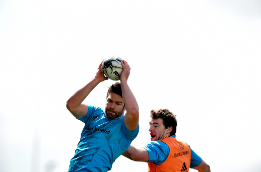 Munster's Billy Holland wins possession in a lineout ahead of Sean O'Connor. Photo: Sportsfile
