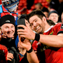 Munster's Billy Holland takes a selfie with supporters at Irish Independent Park after the game against Edinburgh. Photo: Sportsfile