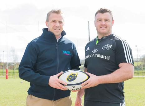 Deputy managing director, Laya Healthcare, DO O'Connor with Munster prop Dave Kilcoyne