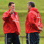 Munster director of rugby Rassie Erasmus (left) and head coach Anthony Foley at training in UL Photo: Stephen McCarthy / Sportsfile