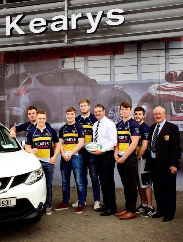 Munster and Dolphin players Niall Scannell, Rory Scannell, John Madigan along with Caolan O'Flynn, Kevin O Leary and Shane McAuliffe former club president Tim Crowley and head coach David Corkery at the recent announcement of Kearys Nissan as team sponsors