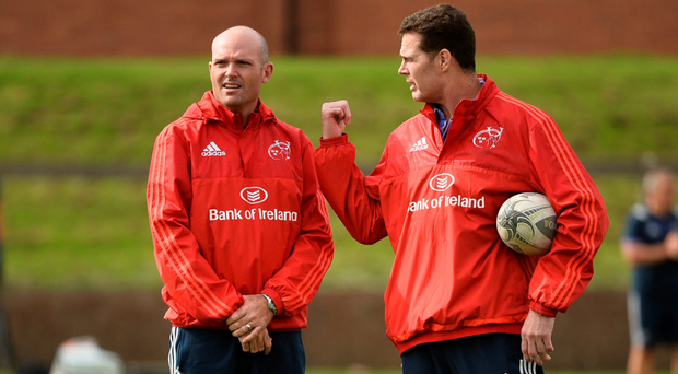 Jacques Niebar, pictured with Rassie Erasmus, will be delighted with Munster's performance. Photo by Sam Barnes/Sportsfile