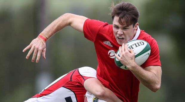 Sean French in action for the Munster U18 Schools team against Ulster. - Schools Interpro Decider. ©INPHO/Billy Stickland
