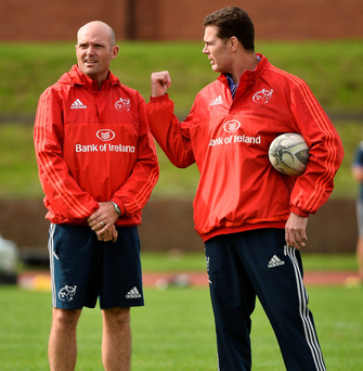 Munster defence coach Jacques Nienaber (left), here with Rassie Erasmus