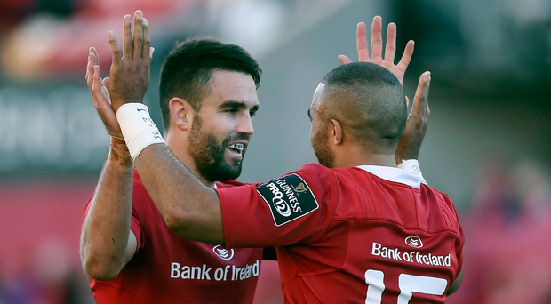 Munster defence coach Jacques Nienabers saw positives in last weekend's defeat to Leinster like the way Conor Murray and Simon Zebo helped put pressure on Isa Nacewa Picture: Sportsfile