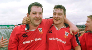 Munster's Anthony Foley, left, and David Wallace celebrate victory over Stade Francais. Photo: Brendan Moran/Sportsfile