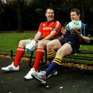 Anthony Foley pictured with Brian O'Driscoll ahead of the 2007/08 Heineken Cup. Photo: Sportsfile