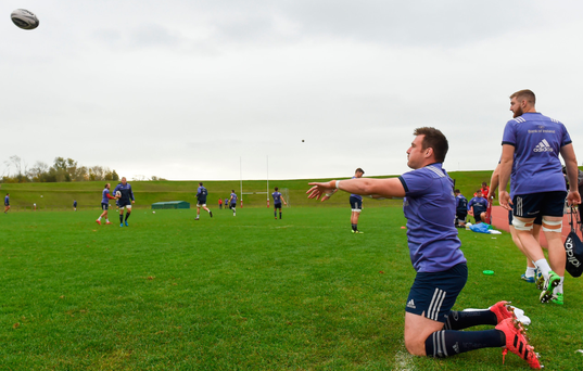 Niall Scannell practises his line-out throwing. Picture: Sportsfile