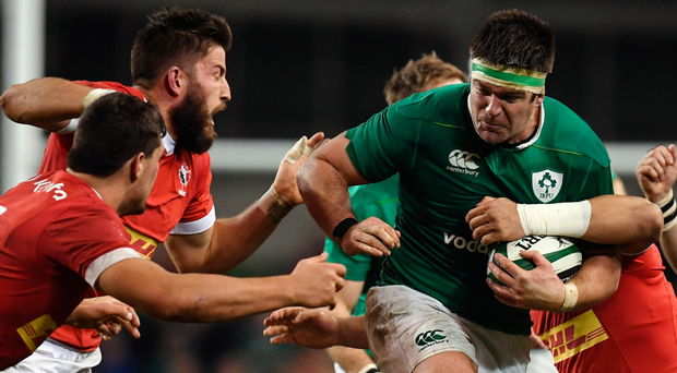 Billy Holland on the charge on his Ireland debut against Canada. Photo: Sportsfile